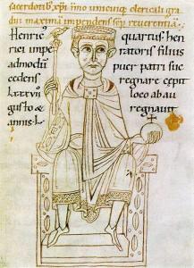 Darstellung Heinrichs IV. in der Chronik des Ekkehard von Aura um 1112/14 (Cambridge, Corpus Christi College, MS 373, fol. 60r) (Quelle: Wikimedia Commons).