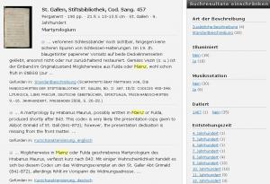 Beispiel für eine facettierte Trefferanzeige (http://www.e-codices.unifr.ch/de)