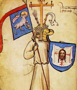 Die Jesus Christus zugeschriebenen Wappen in der Hyghalmen Wappenrolle aus dem 15. Jahrhundert. Quelle: http://commons.wikimedia.org/wiki/File:Jesus_Coat_of_Arms_1.jpg