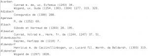 Abbildung 7: Strukturierte Textdaten des Registers (beispielhafter Ausschitt)