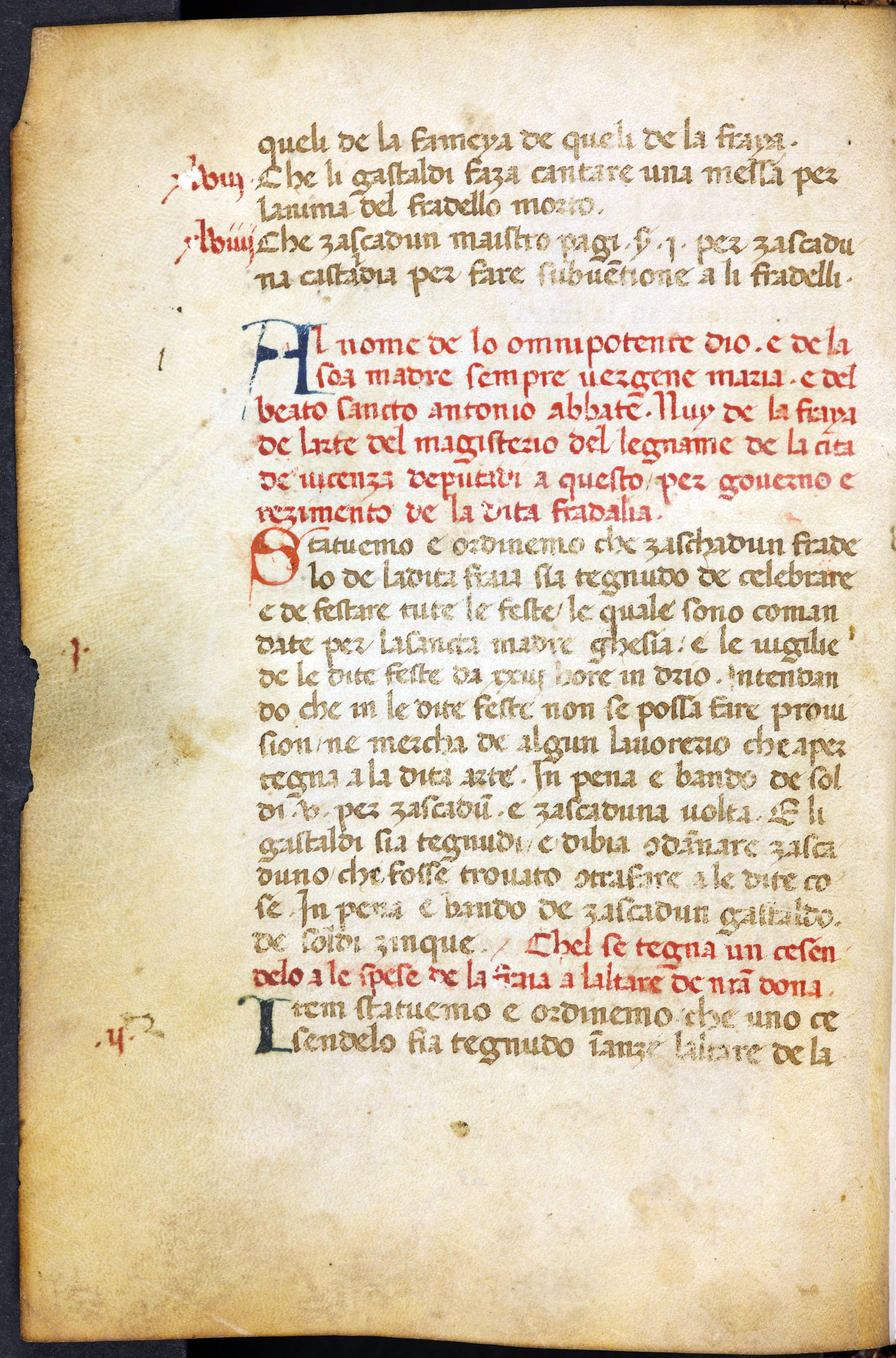 Abb. 8) Beginn der Statuten der Bruderschaft der Zimmerleute von Vicenza, um 1440 (Leipzig, Bibl. des BVerwG, MS 8° R 7520, 8v)