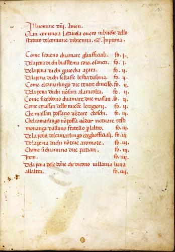 Abb. 9) Stadtrecht von Brenna (bei Siena), Beginn des Registers (Leipzig, BVerwG, MS 4° R 7536, 10r)