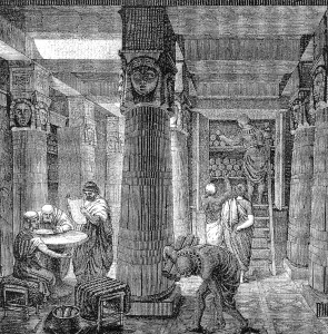 """When we sat by the meat pots and ate bread to the full"" (Exodus 16, 3): Is academia.edu something like a modern version of the Library of Alexandria - knowledge accessible for all? Although we know nothing about its Terms of Use, maybe another parallel. Source: Wikimedia commons, public domain."