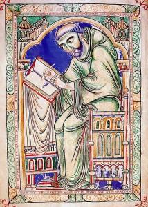 Eadwine the Scribe at work. Leider nicht mehr im Dienst als Korrekturleser für kontinentale Gelehrte. Gemeinfrei. Quelle: Wikimedia Commons.