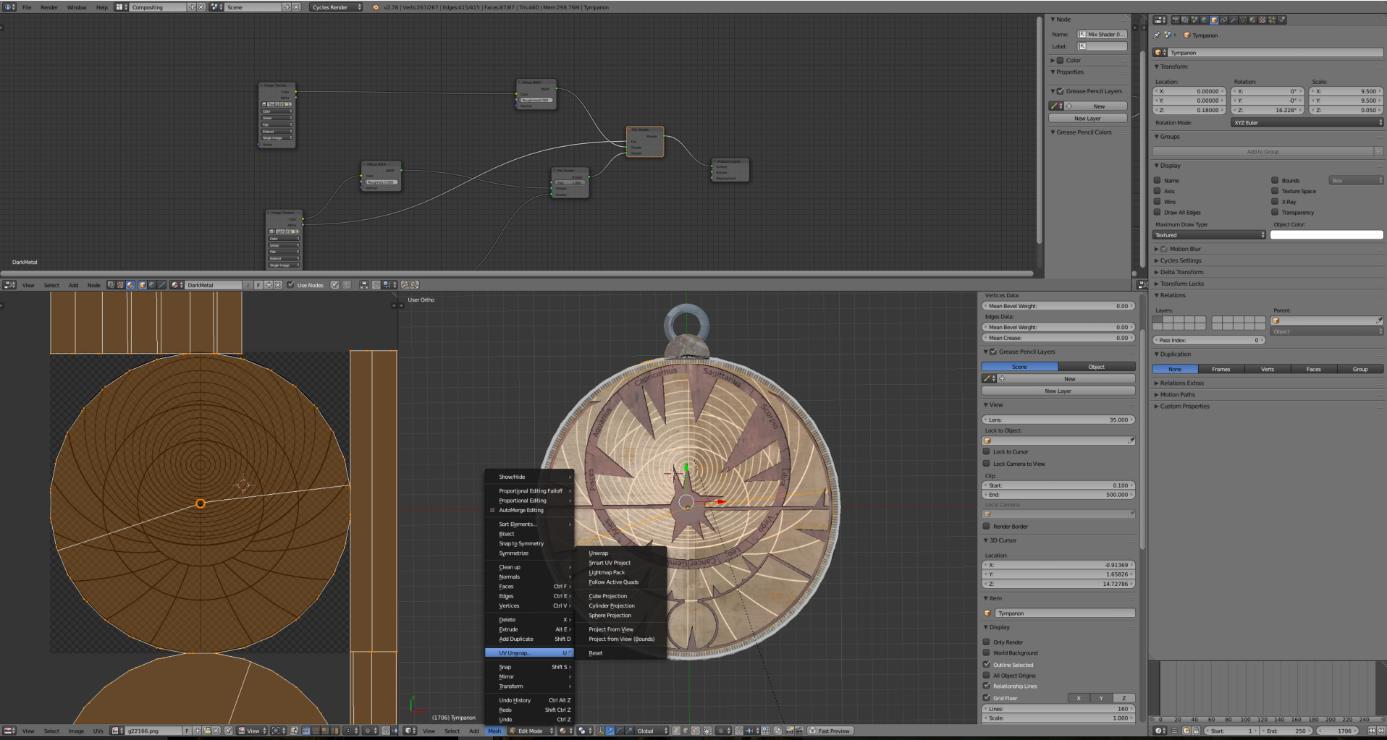 Bild 6: Übertragung von Texturen auf das digitale Objekt (eigener Screenshot)