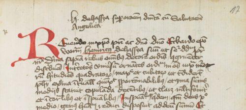 Abb. 7: Überschrift und Textbeginn der Expositio super orationem Dominicam et Ave Maria in Ruppert 2666, fol. 17r. Foto: Klassik Stiftung Weimar.